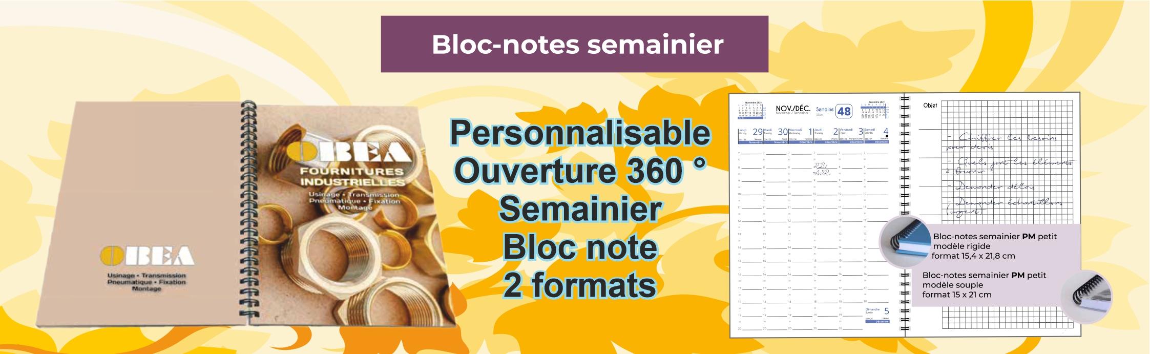 Bloc notes et semainier